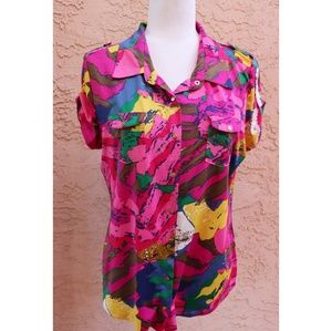 BCBG MaxAzria | abstract colorful button down top